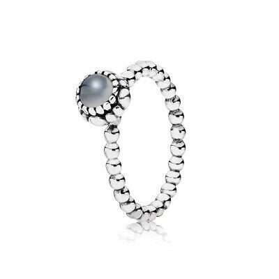 PANDORA   Silver ring, birthstone-June, grey moonstone