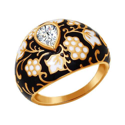 Кольцо с орнаментом чёрно-золотого цвета от SOKOLOV