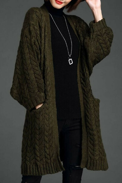 Green cable knit wool cardigan.
