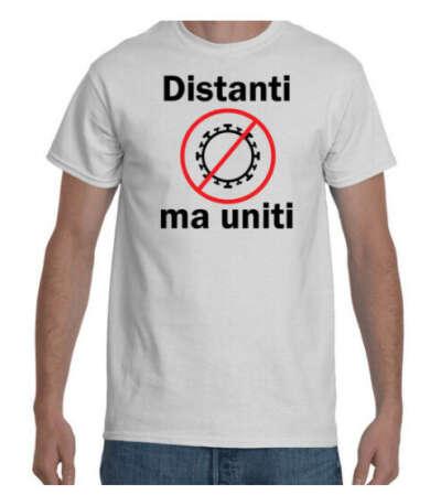 T-shirt – Distanti ma uniti – maglietta coronavirus