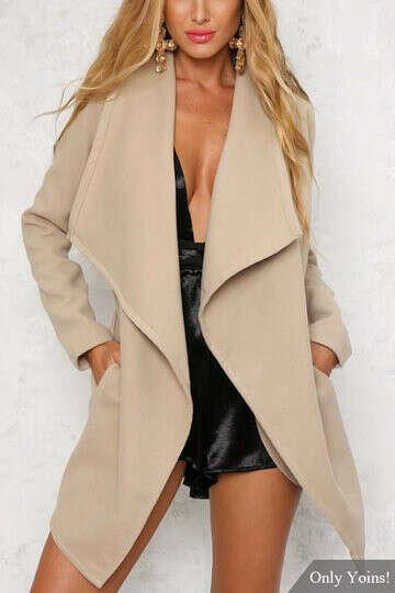 Fashion Open Front Side Pockets Longline Coat - US$47.95 -YOINS
