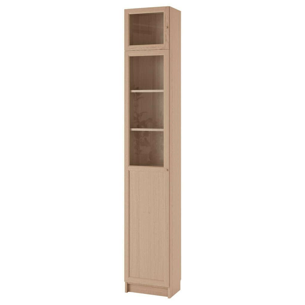 Стеллаж БИЛЛИ/ОКСБЕРГ  с верхними полками/дверьми, дубовый шпон, беленый, стекло, 40x30x237 см купить онлайн в интернет-магазине - IKEA