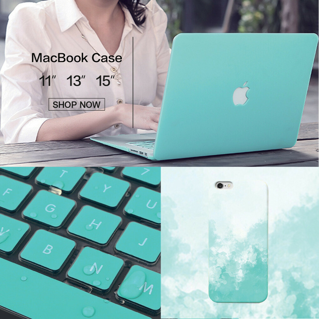 Tiffany Blue Package: Tiffany Mist iPhone Case, Macbook Matte Case & Keyboard Cover