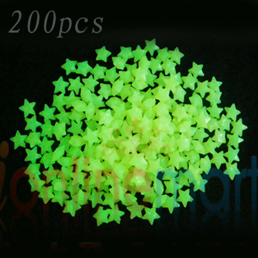 200PCS GLOW IN THE DARK 3D STARS STICKERS BABY KIDS GIFT