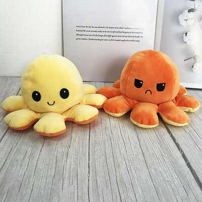 Мягкая игрушка/ Игрушка антистресс/ Осьминожка вывернушка/ Игрушка двусторонняя/ Осьминог перевертыш желтый, оранжевый