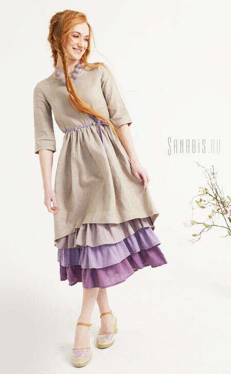 Многослойное платье из льна «Серебристо-лавандовое»