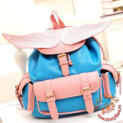 Голубой рюкзак с розовыми крыльями Angel