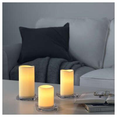 ГОДАФТОН Светодиодная формовая свеча, 3 шт. - с батарейным питанием, естественный - IKEA