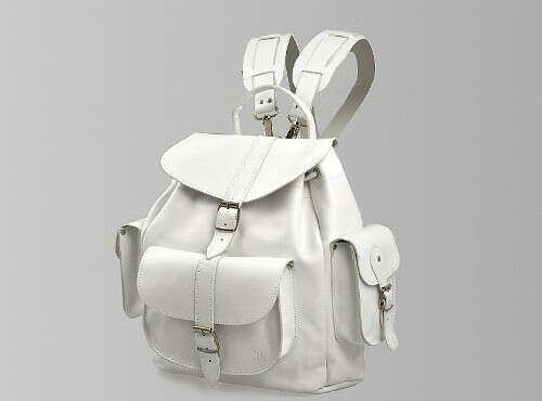 Grafea BIANCA - White Leather Rucksack