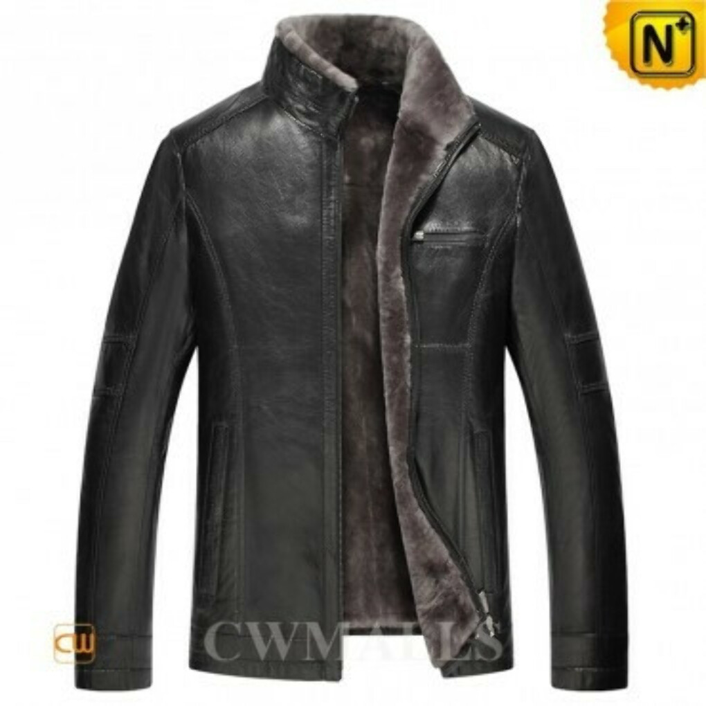 CWMALLS® Designer Leather Shearling Jacket CW857032