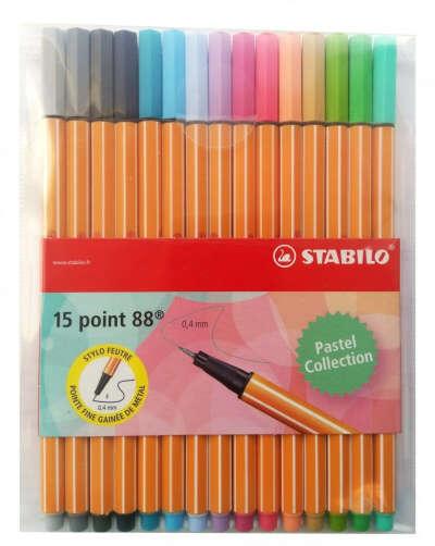 Набор капиллярных ручек линеров STABILO Point 88, 15 пастельных цветов