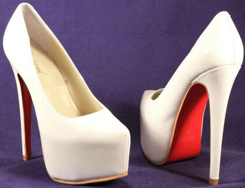 white platform pumps with wooden(?) heel
