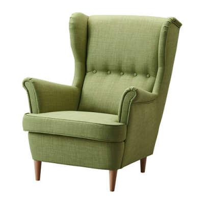 СТРАНДМОН Кресло с подголовником - Шифтебу зеленый  - IKEA