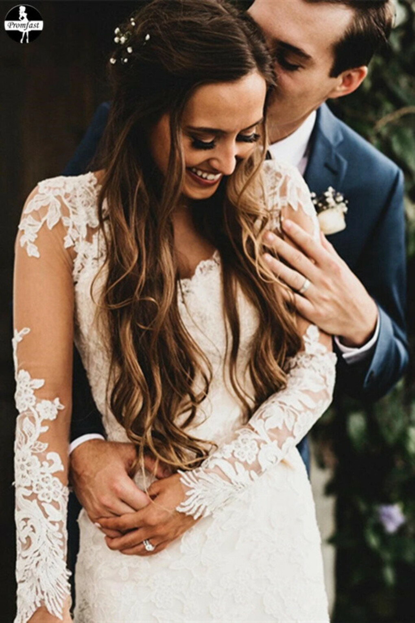 Promfast Elegant Mermaid Wedding Dresses Long Sleeves Lace Bridal Gowns PFW0534