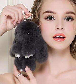 Мех кролика Кукла Ручной Кролик брелок для Женщин Сумка Сумка или Автомобиля Подвеска брелок Pom Pom Брелок купить на AliExpress