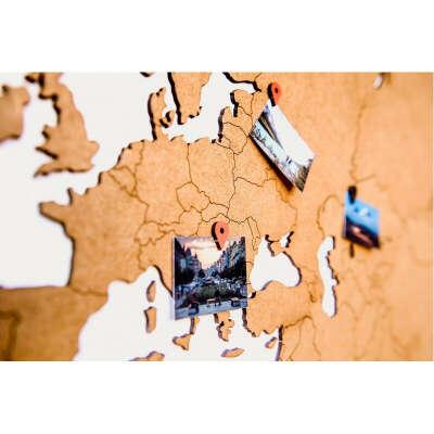 Деревянная карта мира на стену Wall Decoration 130х78