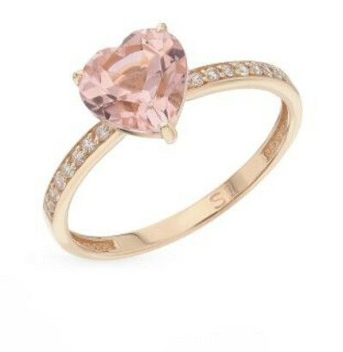 Золотое кольцо с морганитами и фианитами