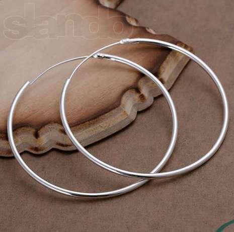Серьги кольца, классические, среднего размера, d~5см