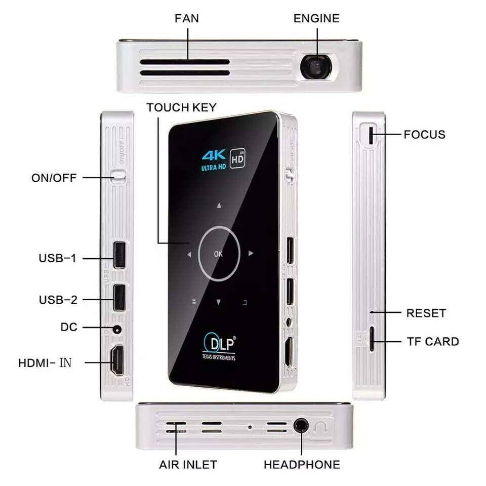Мини проектор ALSTON C6 Mini 4K DLP