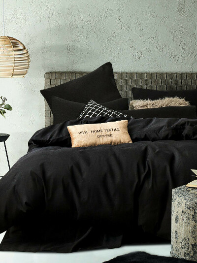 Однотонное постельное белье Blackside, 1,5 сп., наволочки 50х70, Ситрейд