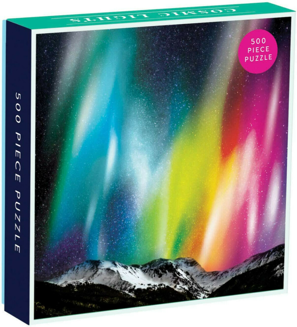 Galison Cosmic Lights 500 Piece Jigsaw Puzzle for Families and Adults, Outer Space Family Puzzle with Rainbow Aurora and Mountain Backdrop