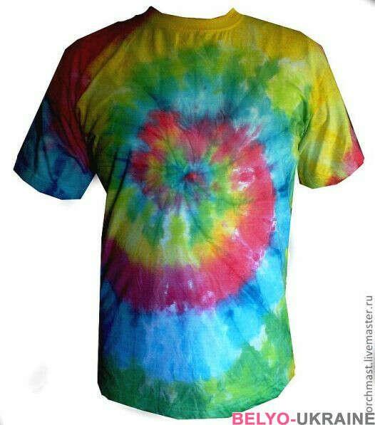 футболка с разводами радугой