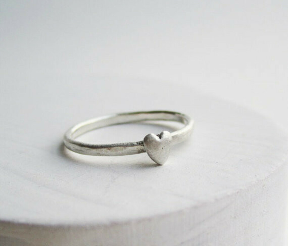 Tiny Mini Heart Silver Ring