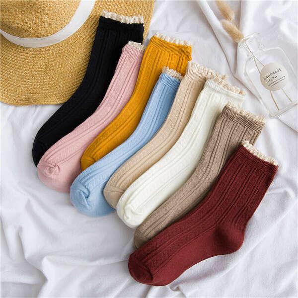 154.01руб. |Женские носки, Осенние новые модные кружевные носки, хлопковые однотонные милые женские модные длинные носки, 1 пара|Носки|   | АлиЭкспресс