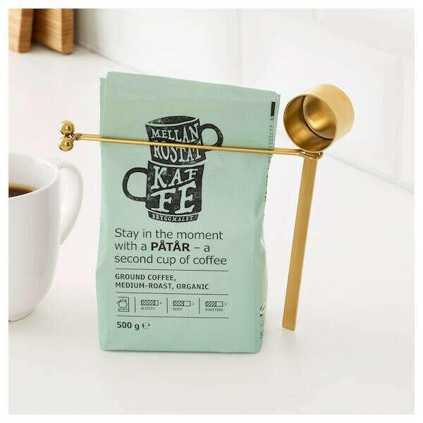ТЕМПЕРЕРАД Мерная ложка для кофе и зажим - латунь - IKEA