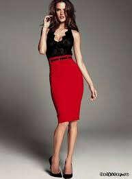 Ярко-красная юбка-карандаш