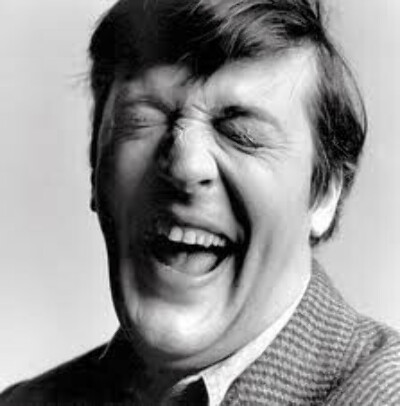 Young Stephen Fry's bw portrait