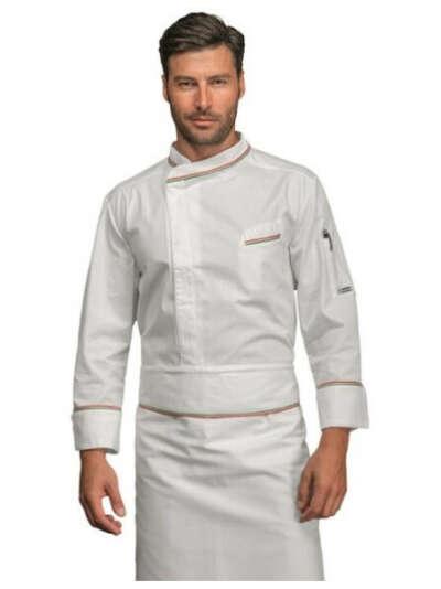 Giacca cuoco chef bilbao Isacco 059310 – colore bianco tricolore cotone uomo