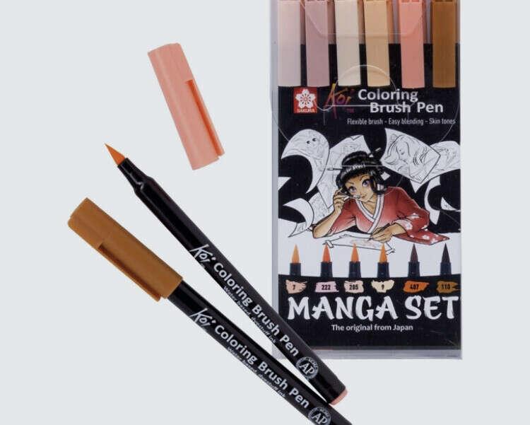 Sakura Набор маркеров акварельных Sakura Koi Manga, 6 шт