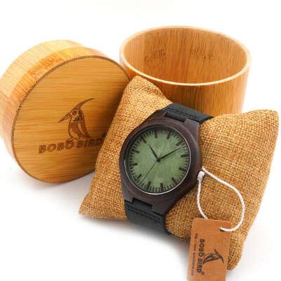 Природного черное дерево мужские часы с бамбуковыми подарочной коробке японский кварцевый деревянные часы для мужчинкупить в магазине R&T FashionнаAliExpress
