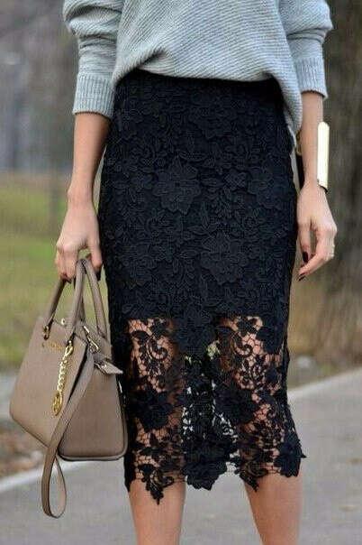 Кружевную черную юбку
