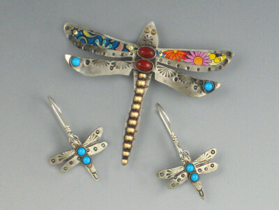 Dragonfly - Dragonfly Pin - Vintage Tin Accent Dragonfly Pin - RP0225PN