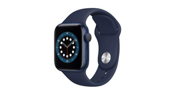 AppleWatch Series6 GPS, 40мм, алюминий синего цвета, спортивный ремешок цвета «тёмный ультрамарин», размерR (стандартный)