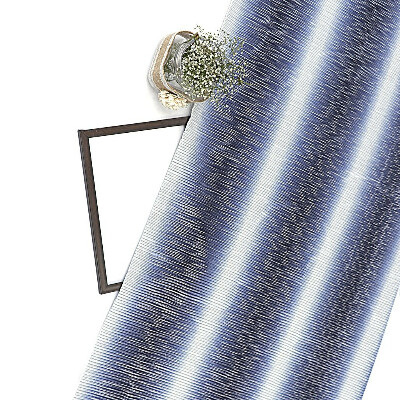 Navy Blue & White Shaded Shimmer Satin Pleated Fabric With Foil