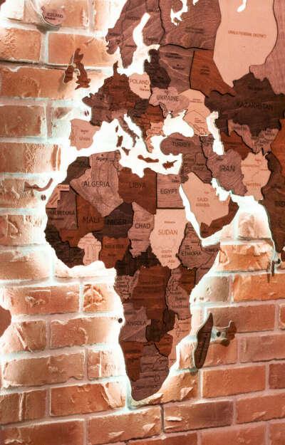 Многослойная карта с Подсветкой - Enjoy The Wood™