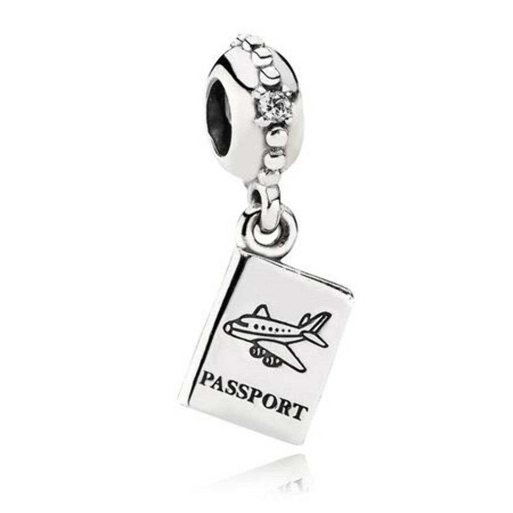 ADVENTURE AWAITS DANGLE CHARM, CLEAR CZ Sterling silver, Cubic Zirconia
