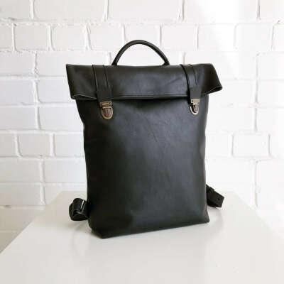 Новый черный Кожаный рюкзак