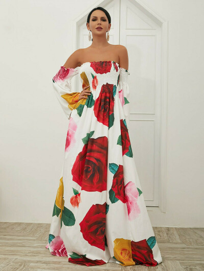 Missord платье макси с принтом розы и открытыми плечами