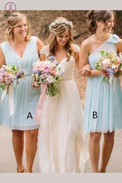 A-line V-neck Chiffon Knee-length Bridesmaid Dresses, One Shoulder Bridesmaid Dress KPB0024