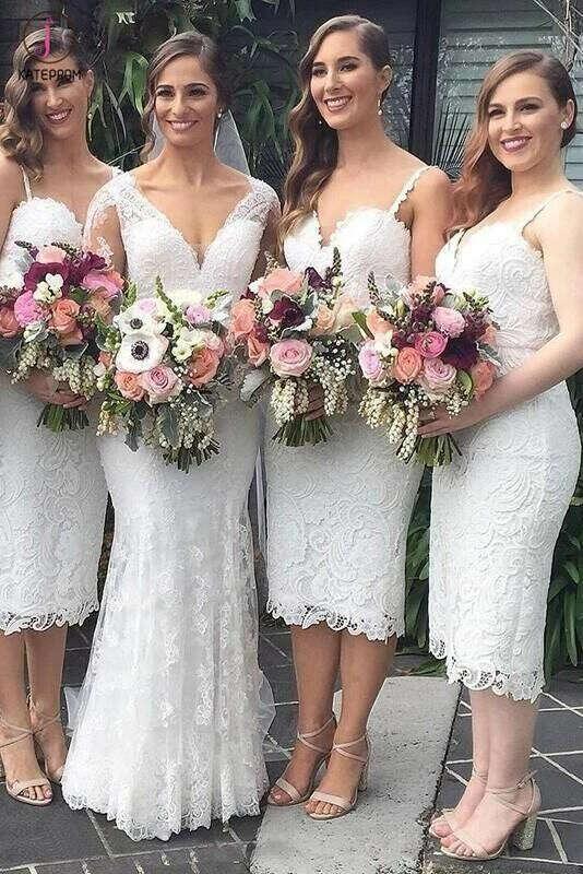 Spaghetti Strap Sweetheart Lace Bridesmaid Dress, Tea Length Sheath Bridesmaid Gown KPB0027