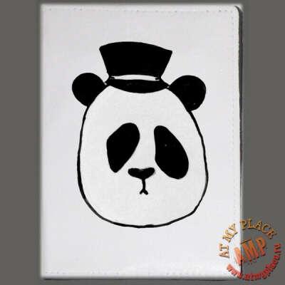 """Белая обложка на паспорт """"Панда в шляпе"""""""