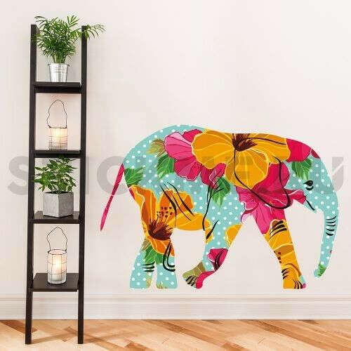 Наклейка на стену многоцветная  Слон в горошек