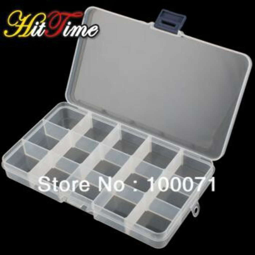 Adjustable 15 Compartment Plastic Clear Storage Box