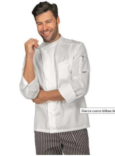 Giacca cuoco chef bilbao Isacco 059309 – colore bianco cotone satin uomo