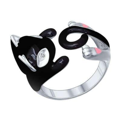 Кольцо в виде черной кошки из серебра арт. 94011780