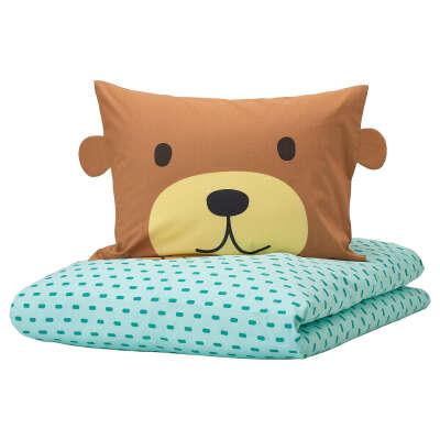 КЭППХЭСТ Пододеяльник и 1 наволочка, медведь бирюзовый, 150x200/50x70 см - IKEA